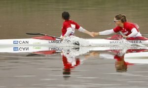 Alanna Bray-Lougheed and teammate Adreanne Langlois win the K-2 500m gold medal at the 2019 Pan Am Games