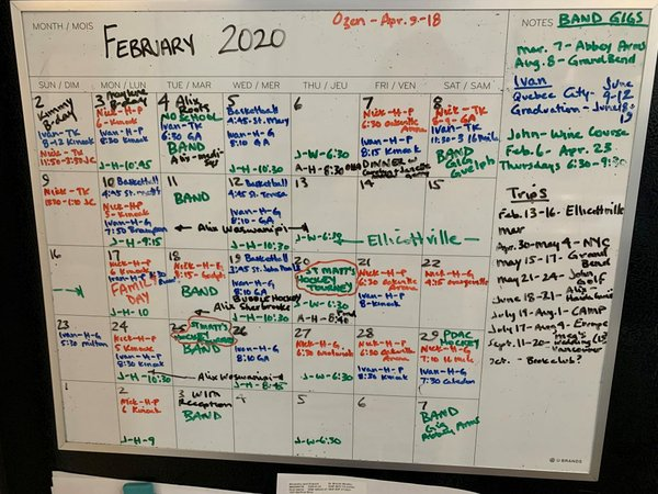 COVID-19 Collection - Band Schedule February 2020