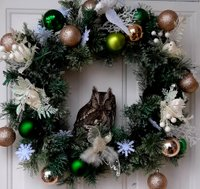 An Eastern Screech Owl naps in the Cardoso family wreath
