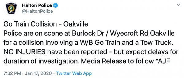 GO Train - HRPS Tweet