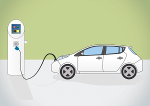 Illustration of electronic vehicle getting charged.