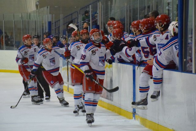 Oakville Blades Jack Jeffers celebrates after scoring Oakville's second goal on Friday.
