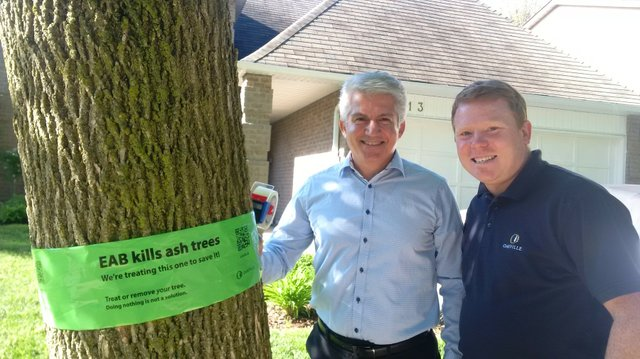 Jalil Hashemi (left), acting manager, Town of Oakville Forestry Services, and Regional and Town Councillor Sean O'Meara launch the town's 2016 Canopy Conservation program to treat ash trees.