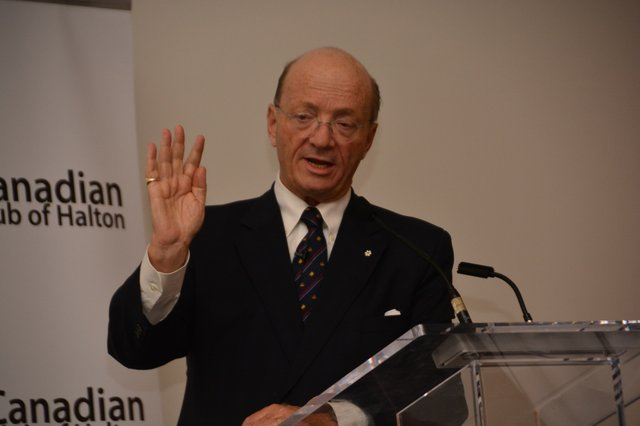 The Hon. Hugh Segal, OC, OOnt Spreaking at Canadian Club of Halton