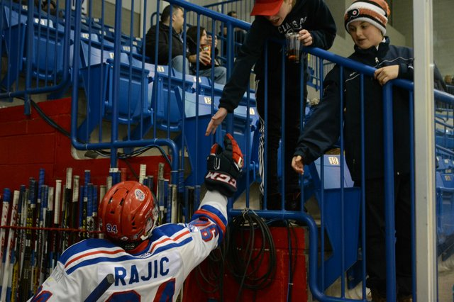 Christian Rajic thanks fans for coming out to Saturday's playoff game against Burlington.