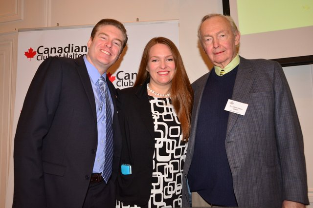 Keynote Speaker Canadian Club Halton: Dr Julia Upton MD with Husband and Father: Part of Julia's Fan Club!