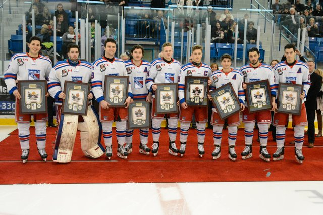 Graduating members of the Oakville Blades pose following a pre-game ceremony on Monday, February 20th.