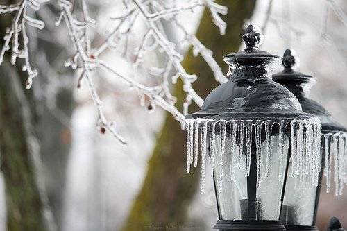 Ice on light fixture