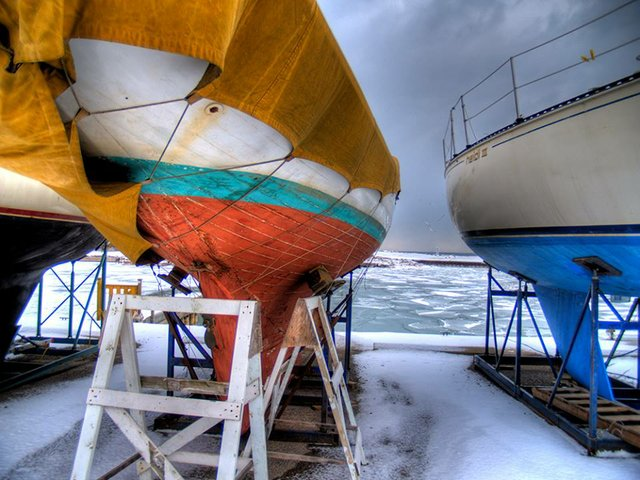 Boats in storage Winter