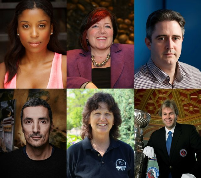 Top row, left to right): Camille Eanga-Selenge, Charmaine Hammond, Michael Hicks (Bottom row, left to right): Kent Monkman, Gloria Peckham, Phil Pritchard