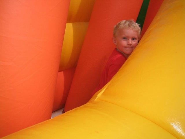 Child in a bouncy castle