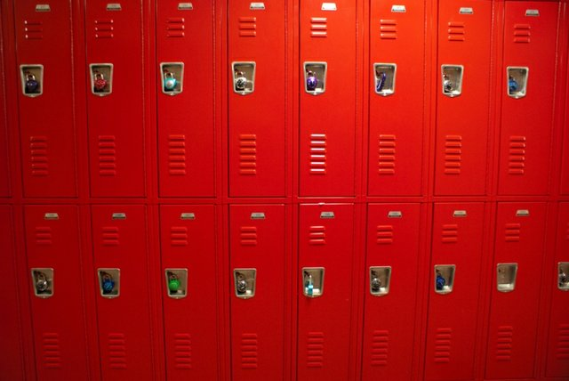 red high school lockers,