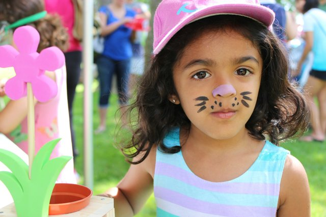 Child with face painted to look like a cat