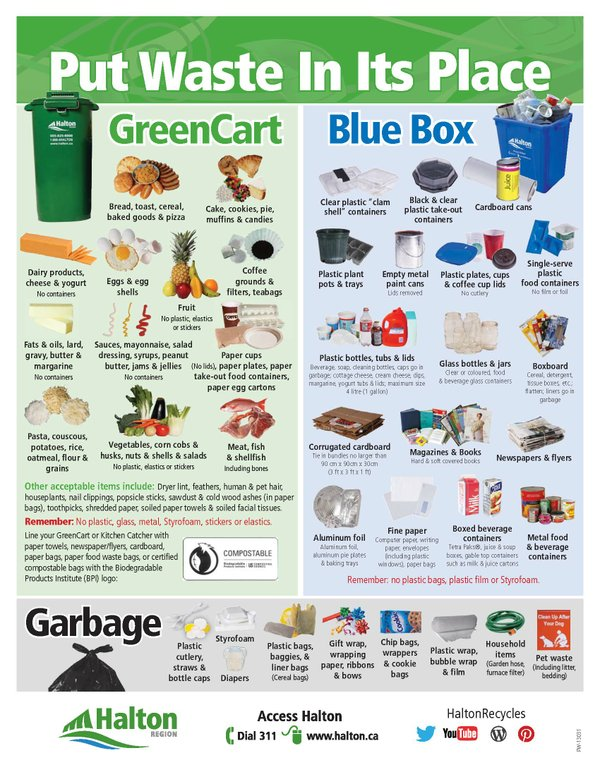 info chart of recycled items