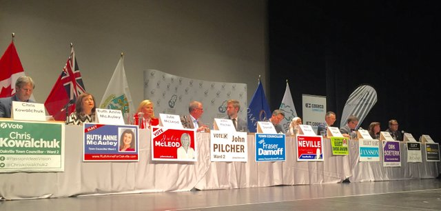 Candidates on stage