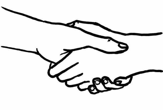 Line drawing of two hands shaking