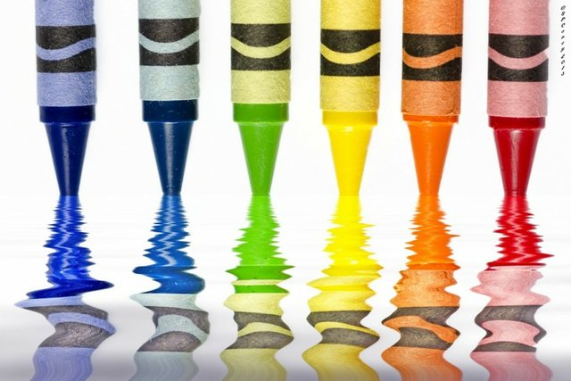 coloured crayons reflected