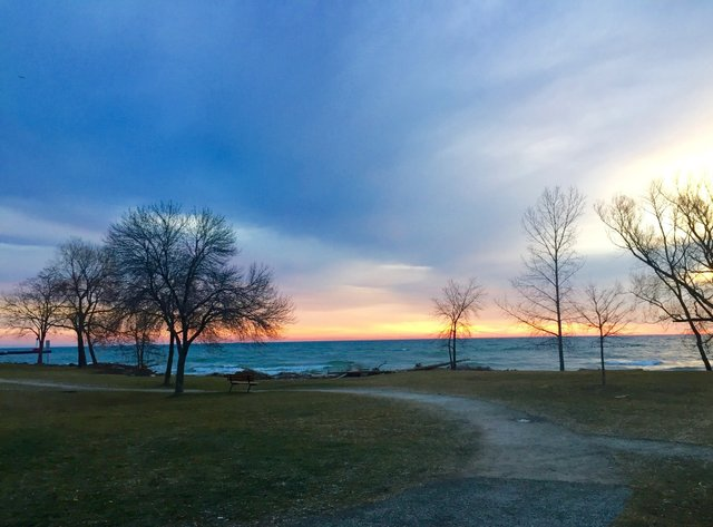 view at sunrise over lake ontario