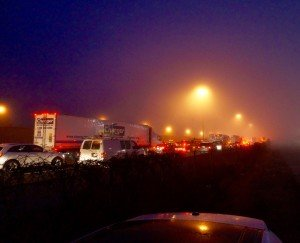 Traffic backed up at night on highway