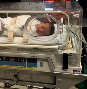 Baby in an incubator transporter
