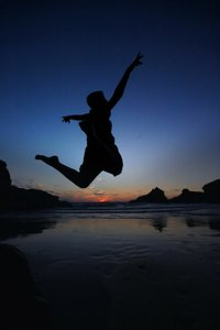 Person leaping for joy