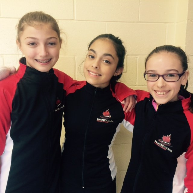 3 young girls in skating outfits