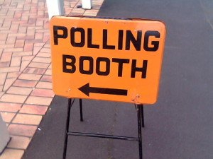Polling booth sign