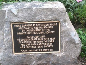 Bronte Horticultural Society Plaque celebrating the 90th Anniversary of the association. Photo Credit: Bronte Horticultural Society
