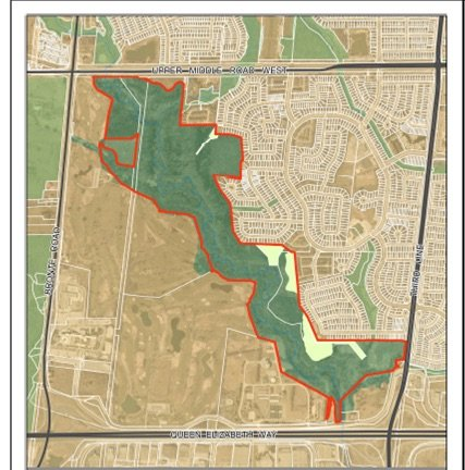 Map of 14 Mile Creek River Valley the town of Oakville aims to protect.