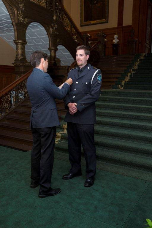 Halton Advanced Care Paramedic Kyle Laing received the Ontario Medal for Paramedic Bravery is the province's highest honour was presented by Dr. Eric Hoskins, Minister of Health and Long-Term Care.
