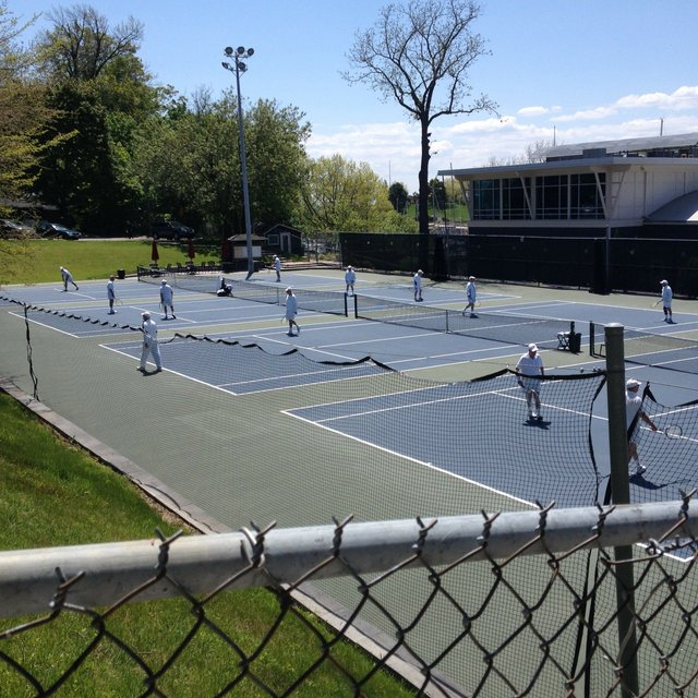 Enjoying a game of tennis at the Oakville Club