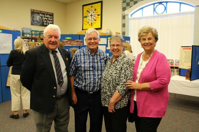 (Left to right): Mr. Hennelly, former Superintendent; Mr. Macinnis, former Principal; Mrs. Macinnis, wife of Mr. Macinnis; Mrs. Shalton, wife of former Principal.