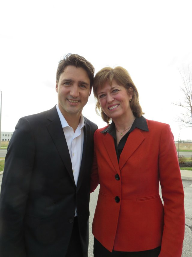 Pam Damoff with Liberal Leader Justin Trudeau