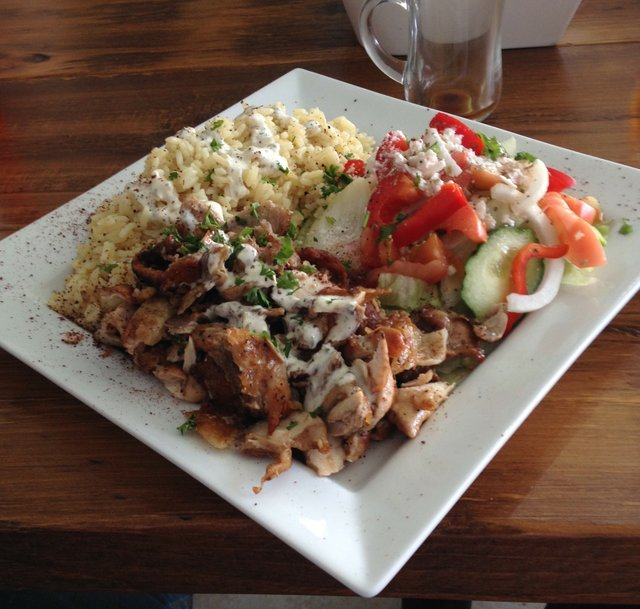 Maro's Bistro Chicken Rice Salad on a large square plate