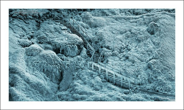 Icy Walk way up a hill