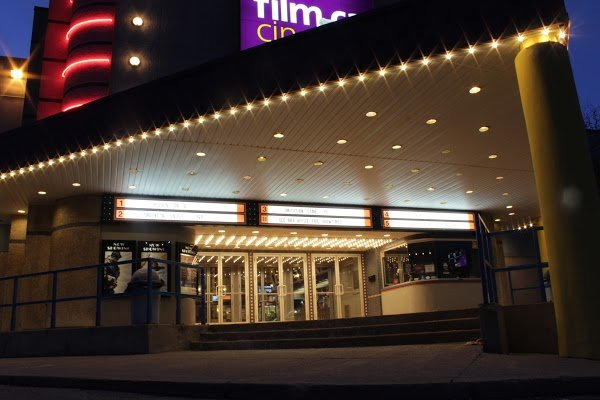 Exterior of Film.ca at Twilight