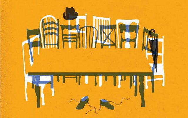 Dinning Room Table  &  chairs primitive line drawing