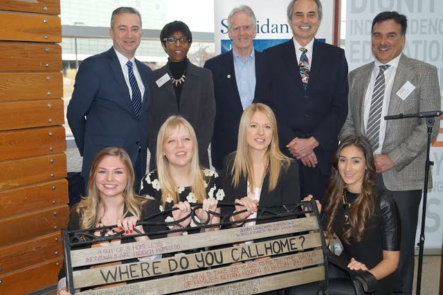(left to right): Jeff Zabudsky, Michelle Pommells, Rusty Baillie, Gary Carr, Michael Shaen and design students from Sheridan College: Hannah Metcalf, Heather Varty, Emily Ceh, Alivia Checchia