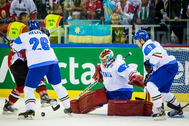 Adam Dennis (goaltender) seen here with the Italian National Team at the 2013 World Championships.