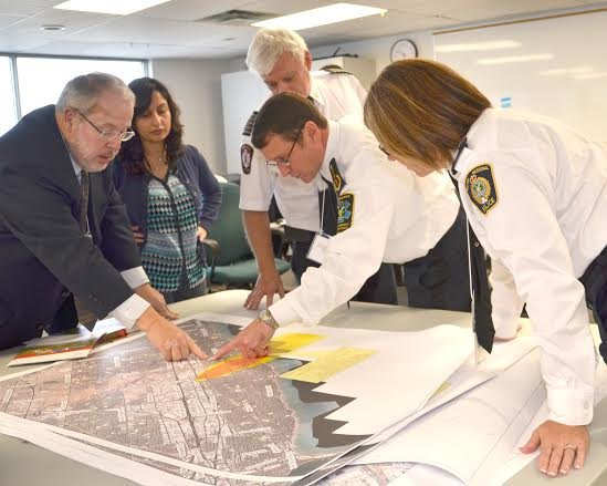 (from left to right) Sheldon Wolfson, Commissioner Halton Region Social and Community Services; Dr. Hamidah Meghani, Commissioner and Medical Officer of Health Halton Region Health Department; Lee Grant, Regional Fire Chief; Peter McMurrough, Deputy Chief