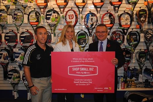 CFIB president Dan Kelly presented the award to The Merchant of Tennis business owners Pamela and Rob Horwood last week.