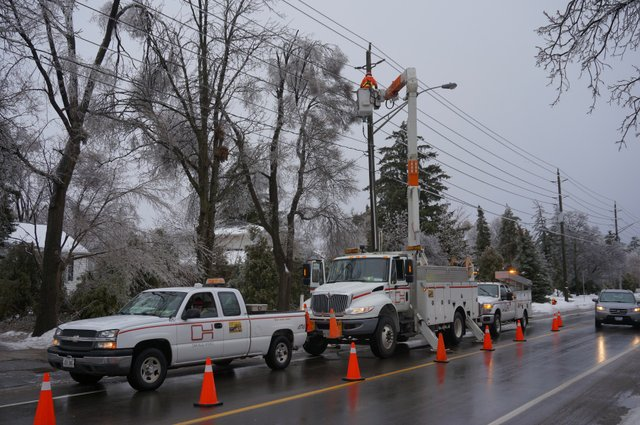 Oakville Hydro working on the Ice Storm 2013