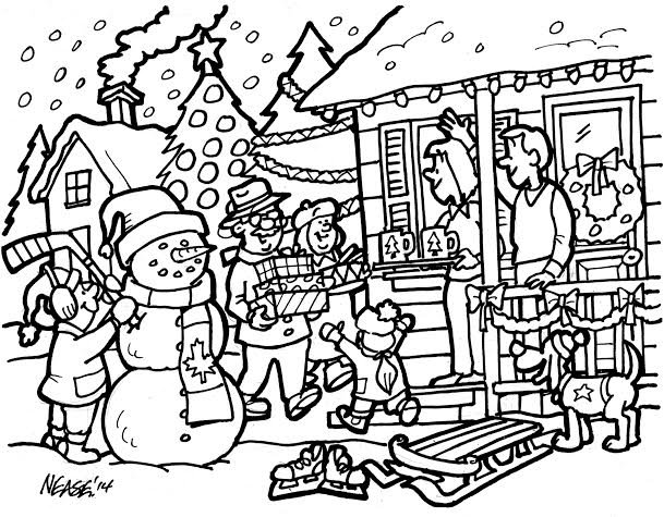 House decorated for christmas - B & W Line Drawing