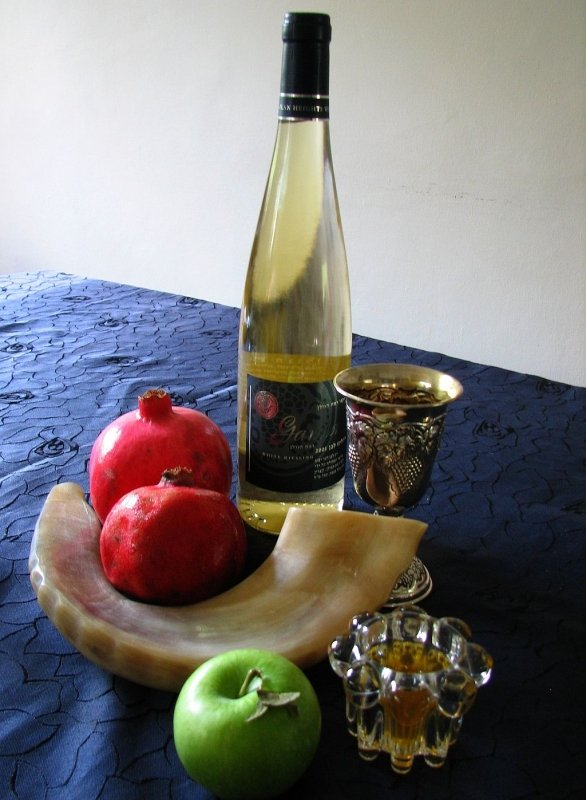 Pomegranate, Apples, honey, Wine