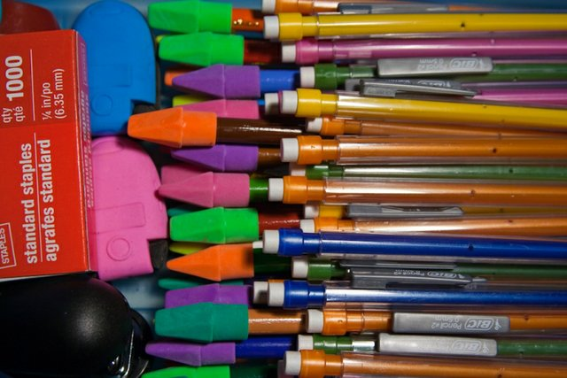 Multi-coloured erasers  &  pencils