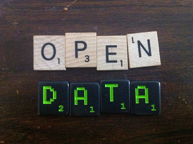 Open Data spelt out with scrabble pieces