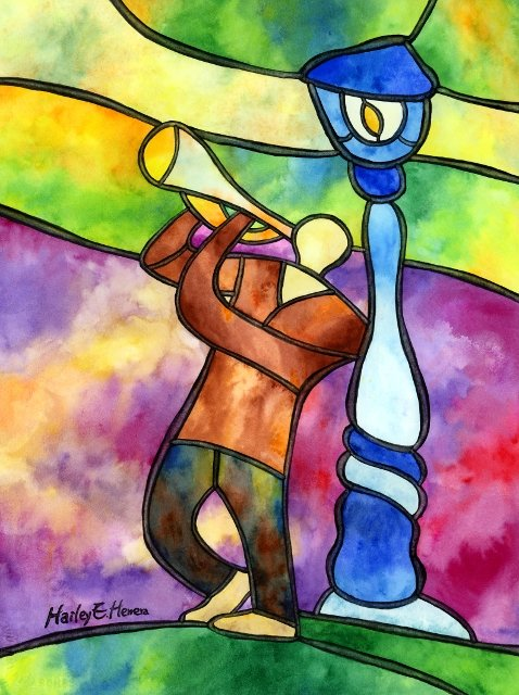 Stained Glass of a man playing a trumpet by a lamp post.