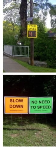 Speed reduction signs