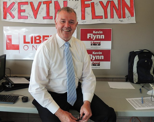 Oakville Liberal Provincial Candidate Kevin Flynn in his campaign office