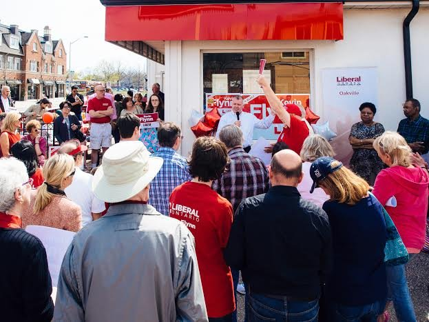 Kevin Flynn incumbent Liberal candidate for Oakville outside the campaign office on opening day
